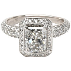 Kelege Radiant Diamond Engagement Ring in Platinum GIA D VS2 2.55 Carat