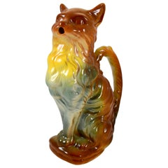 Keller & Guerin Saint Clément French Barbotine Majolica Cat Absinthe Pitcher