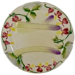 Keller & Guerin Saint Clément French Faïence Bleeding Heart Asparagus Plate