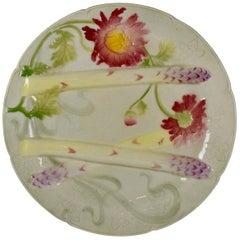 Keller & Guerin Saint Clément French Faïence Chrysanthemum Asparagus Plate