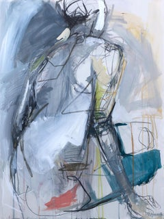 At Hope's Door by Kelley Ogburn, Abstract Mixed Media on Canvas Nude Painting