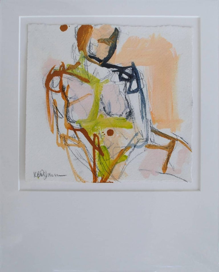 This nude painting by American artist Kelley Ogburn is a petite piece on paper depicting a nude woman facing forward and leaning on an object with the right side of her body.  The figure appears to be seated on a surface of some kind and the palette