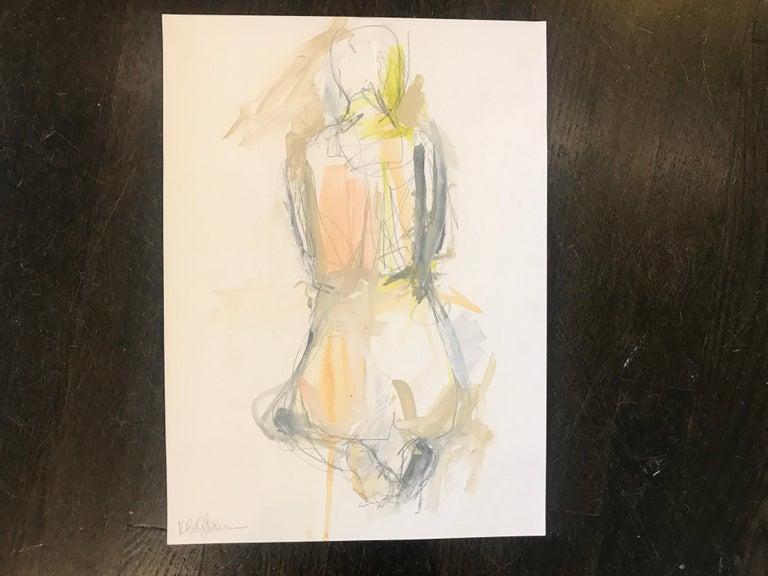 Gratitude, Kelley Ogburn 2018 Petite Vertical Nude Painting on Paper For Sale 1