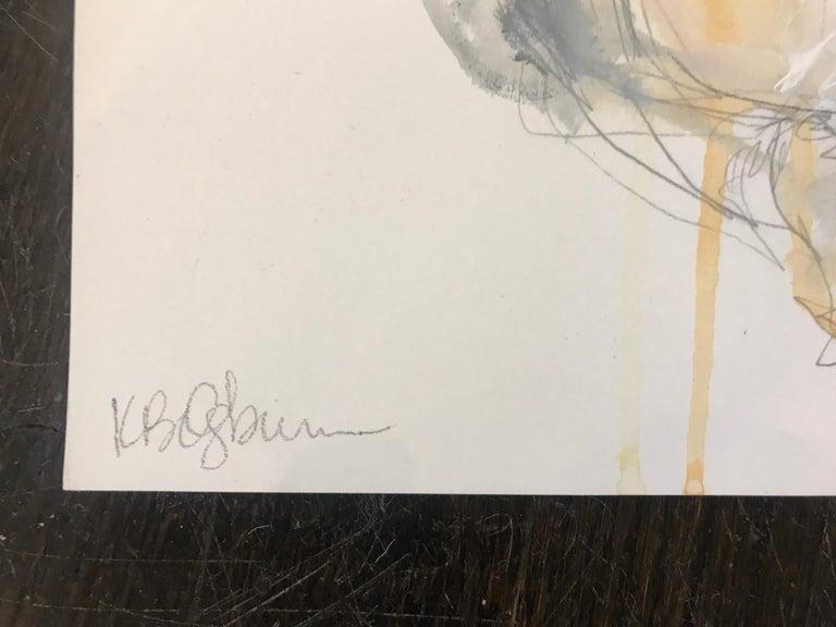 Gratitude, Kelley Ogburn 2018 Petite Vertical Nude Painting on Paper For Sale 2
