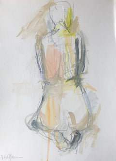 Gratitude, Kelley Ogburn 2018 Petite Vertical Nude Painting on Paper