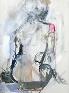 Into the Clouds Kelley Ogburn Vertical Contemporary Figurative Painting on Paper
