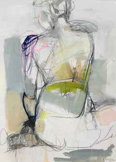 Over My Shoulder by Kelley Ogburn, Mixed Media Abstracted Nude Painting