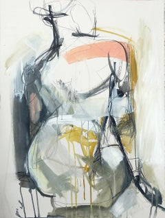 Presence by Kelley Ogburn, Framed Vertical Abstract Mixed Media on Paper Piece