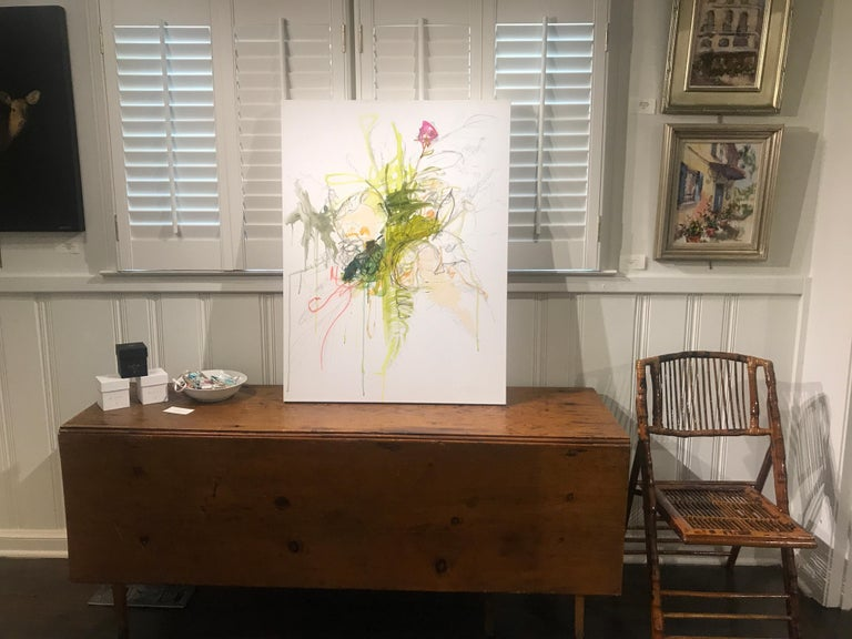 Revolution by Kelley Ogburn, Abstracted Floral Mixed Media on Canvas Painting - Gray Still-Life Painting by Kelley B. Ogburn