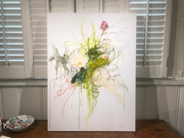 'Revolution' is a medium size mixed media on canvas abstract floral painting created by American artist Kelley Ogburn in 2019. Featuring a palette made of green and pink tones among others, this painting captures our attention with its bold and