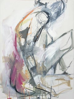 Situate by Kelley Ogburn Vertical Contemporary Figurative Painting on Paper