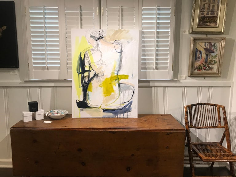 Tuck by Kelley Ogburn, Mixed Media on Canvas Vertical Abstract Nude Painting For Sale 1