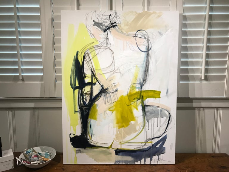 Tuck by Kelley Ogburn, Mixed Media on Canvas Vertical Abstract Nude Painting For Sale 2