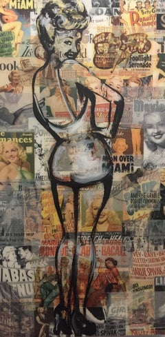 Betty Grable, Painting, Acrylic on Wood Panel