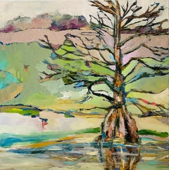Cypress by Kelli Kaufman Framed Oil and Wax Landscape Tree Painting with Green
