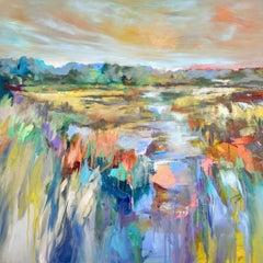 Marsh Awakening by Kelli Kaufman Large Framed Oil and Wax Landscape Painting