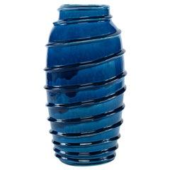 Kellie Vase in Dark Blue Ceramic by CuratedKravet
