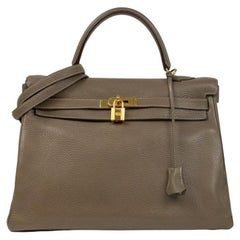 Kelly 35 in brown leather