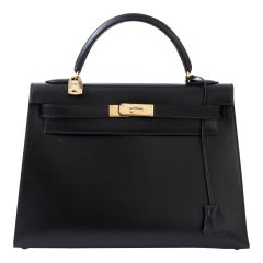 Kelly Bag 32 Black Box leather Bag