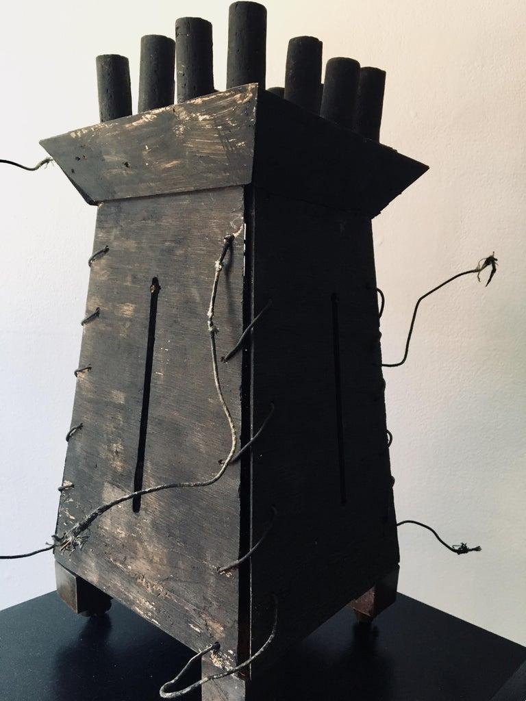 "Kelly Bugden + Van Wifvat Abstract Sculpture - Abstract wood Sculpture: ""Fortress'"