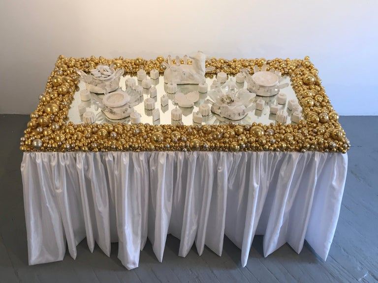 Large Mirror Sculpture; 'Sphere Mirror' - Brown Abstract Sculpture by Kelly Bugden + Van Wifvat