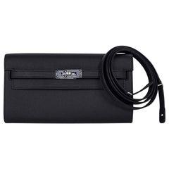 Kelly Classique To Go Wallet Black Epsom Palladium Hardware New w/Box
