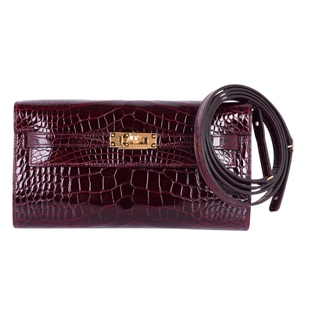 Kelly Classique To Go Wallet Bordeaux Alligator Gold Hardware New w/Box