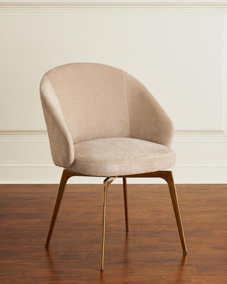 Set of 6, Kelly Dining Chairs Upholstery in Beige Latte Velvet w Rose Gold Metal 2