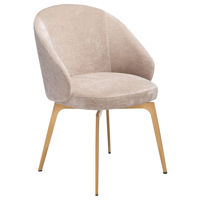Set of 6, Kelly Dining Chairs Upholstery in Beige Latte Velvet w Rose Gold Metal 3