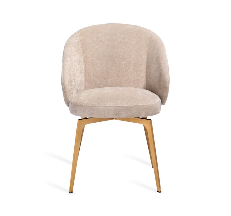Set of 6, Kelly Dining Chairs Upholstery in Beige Latte Velvet w Rose Gold Metal 4