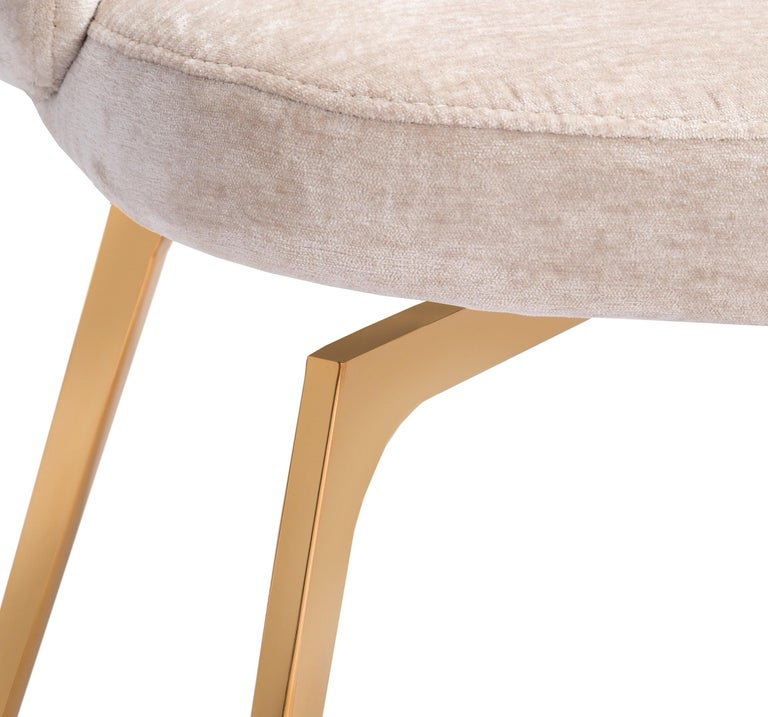 Set of 6, Kelly Dining Chairs Upholstery in Beige Latte Velvet w Rose Gold Metal 5