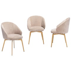 Kelly  Dining Chair Set of Six in Velvet and Rose Gold