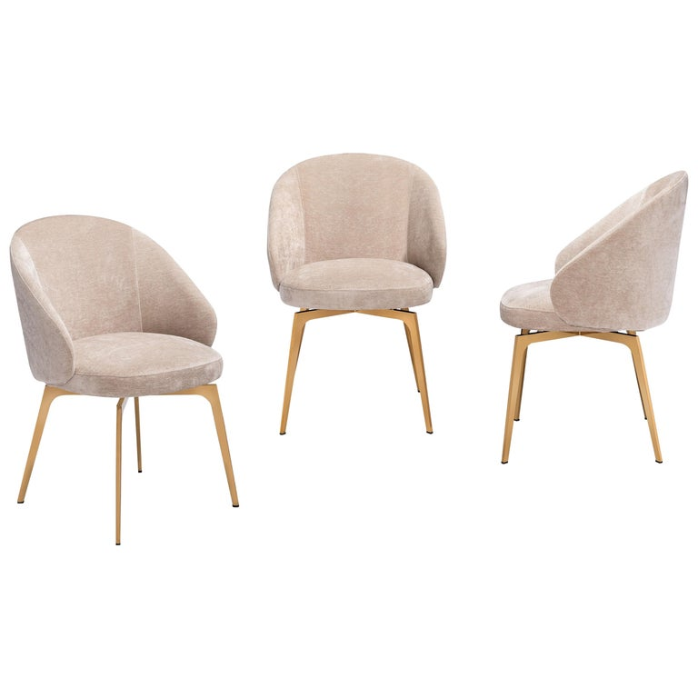 Set of 6, Kelly Dining Chairs Upholstery in Beige Latte Velvet w Rose Gold Metal 1
