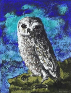 """""""Owl,"""" pastel painting by Kelly Fearing, 1972"""