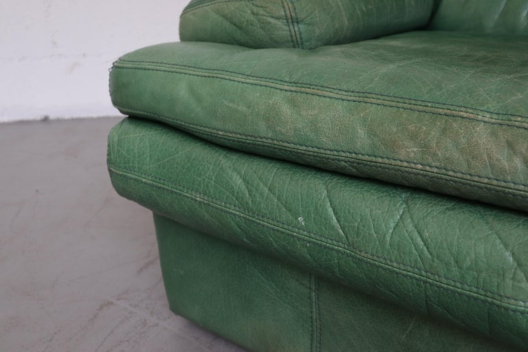 Kelly Green Leather Love Seat Sofa For Sale 5