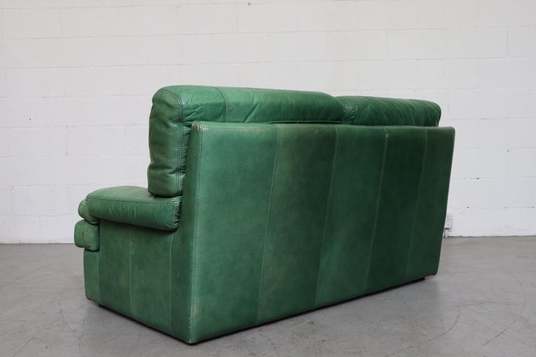 Dutch Kelly Green Leather Love Seat Sofa For Sale