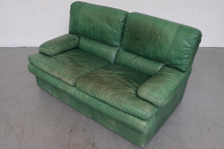 Kelly Green Leather Love Seat Sofa For Sale 1