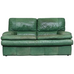 Kelly Green Leather Love Seat Sofa