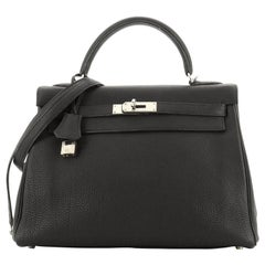 Kelly Handbag Black Togo with Palladium Hardware 32