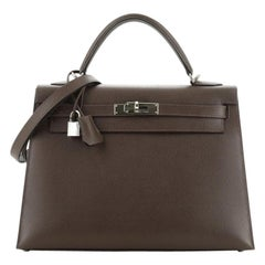 Kelly Handbag Chocolate Epsom with Palladium Hardware 32