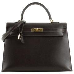 Kelly Handbag Ebene Veau Grain Lisse with Gold Hardware 35