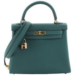 Kelly Handbag Malachite Togo with Gold Hardware 25