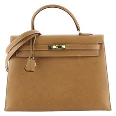 Kelly Handbag Natural Ardennes with Gold Hardware 35
