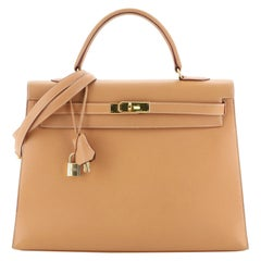Kelly Handbag Natural Courchevel with Gold Hardware 35
