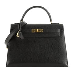Kelly Handbag Noir Ardennes with Gold Hardware 32