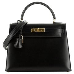 Kelly Handbag Noir Box Calf with Gold Hardware 28