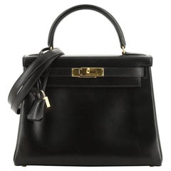 Kelly Handbag Noir Box Calf with Gold Hardware 28