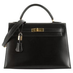 Kelly Handbag Noir Box Calf with Gold Hardware 32