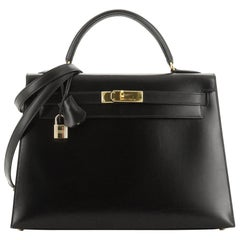 Kelly Handbag Noir Box Calf with Gold Hardware 32