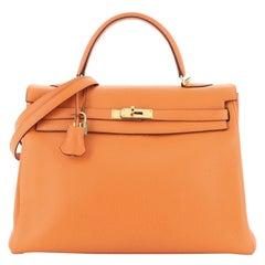 Kelly Handbag Orange H Clemence with Gold Hardware 35